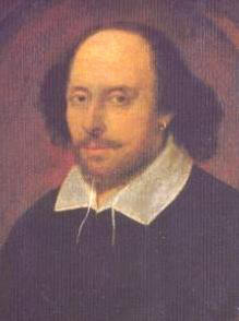 William Shakespeare (National Portrait Gallery), in the famous Chandos portrait, artist and authenticity unconfirmed.